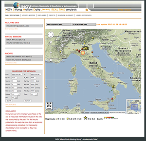 Figure 1. INGV strong-motion data web portal: home page (top panel); ISMD home-page (bottom left); DYNA home page (bottom right).